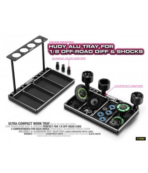 HUDY ALU TRAY FOR 1/8 OFF-ROAD DIFF & SHOCKS