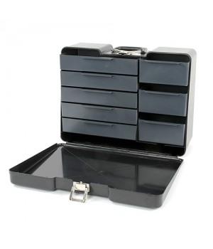 Bollicine Polyno Cassetta porta attrezzi in ABS Nera a 8 cassetti