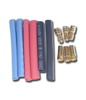 Hobbywing banana connector plug 6.0mm M/F dorati (3cp) + termorestringente 86070020