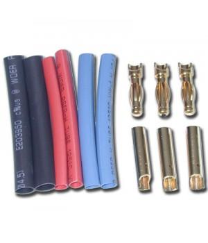 Hobbywing banana connector plug 4.0mm M/F dorati (3cp)+ termorestringente 86070010