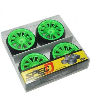 Yeah Racing Spec D gomme da DRIFT offset +3 con cerchio 10 raggi sdoppiati Verdi