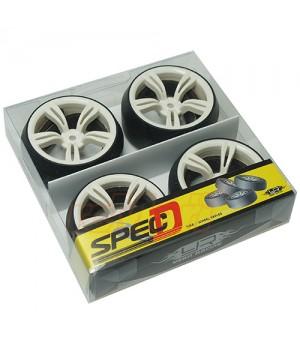 Yeah Racing Spec D gomme da DRIFT offset +3 con cerchio 5 raggi doppi Bianchi