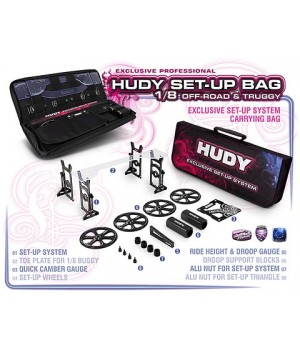 HUDY  COMPLETE SET OF SET-UP TOOLS + CARRYING BAG - FOR 1/8 OFF-ROAD CARS