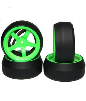 Yeah Racing Spec D gomme da DRIFT offset +6 cerchio 5 raggi Verde (4)